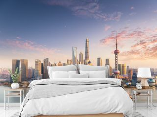 charming sunset view of shanghai skyline