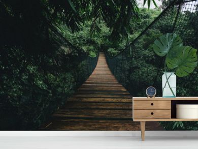 Wooden suspended bridge in a forest