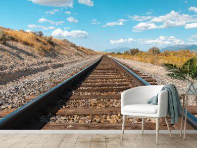 Straight railroad track in Utah, USA - the way forward