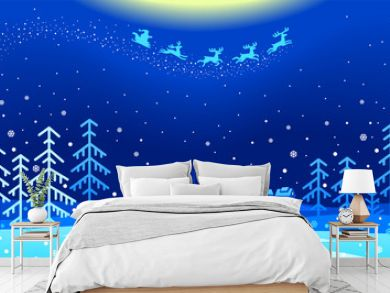 An illustration of Santa Claus flying across a snowy landscape in the Christmas night