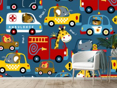 seamless pattern of vehicles cartoon with funny drivers