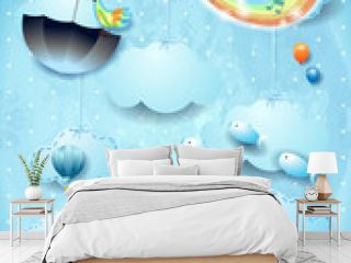 Fantastic landscape with room, rainbow colors, music and flying umbrella