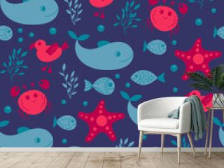 Seamless cute underwater pattern on white background. sea vector animals. It can be used for backgrounds, surface textures, wallpapers, print fills. kids fashion. flat design
