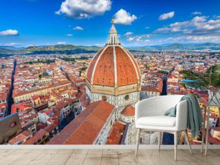 Florence Duomo. Basilica di Santa Maria del Fiore (Basilica of Saint Mary of the Flower) in Florence, Italy. Architecture and landmark of Florence. Cityscape of Florence