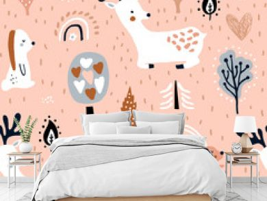 Seamless childish pattern with jumping rabbits, deers in the forest. Creative woodland texture for fabric, wrapping, textile, wallpaper, apparel. Vector illustration