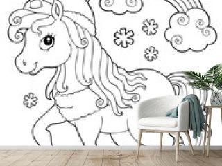 Coloring book winter unicorn theme 1