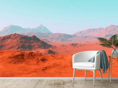 Mars landscape, 3d render of imaginary mars planet terrain