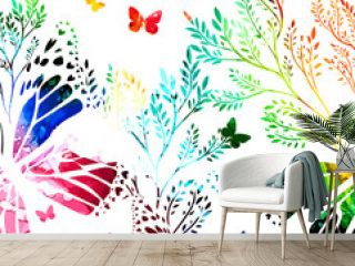Abstraction summer. Flowers with butterflies. colorful background. Vector illustration