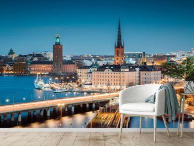 Stockholm skyline panorama at twilight, Sweden, Scandinavia