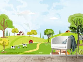 Rural farm landscape with green fields, farm house, barn, animals cow, blue sky and clouds,  Vector cartoon Spring or Summer background, Panoramic countryside with Fram fields landscape.