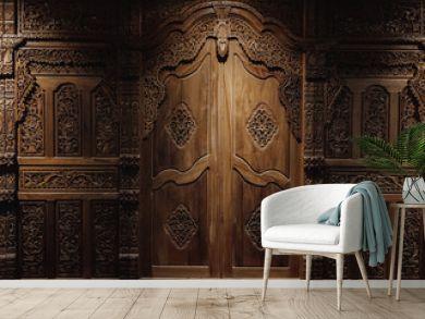 Javanesse door with javanesse batik and flower Pattern is carved on wood background