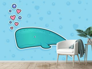 Whale sticker on blue background with bubbles and hearts. Ocean fish. Underwater marine wild life. Vector illustration.