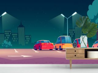 Cars on city parking with street lights at night. Vector cartoon illustration with modern automobiles parked in town and cityscape on background. Urban landscape with road, vehicles and buildings