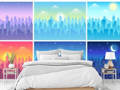 Day time cityscape. Change of time of day, morning town and night city skyline vector illustration set. Bundle of urban landscapes in flat style with downtown buildings, sun or crescent moon in sky.