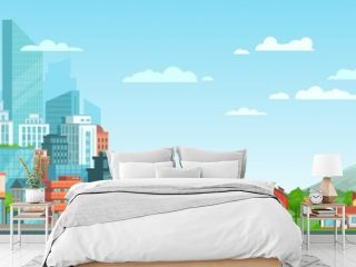 Suburban and urban cityscape. Modern city architecture, suburban or village houses and summer landscape vector illustration. Metropolis skyline and suburbs. Financial district and countryside panorama