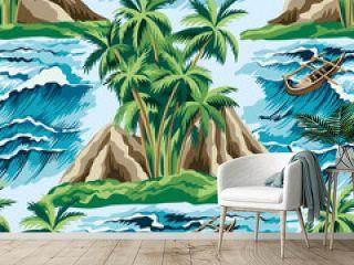 Hawaiian vintage island, palm tree, boat and sea waves summer floral seamless pattern.Exotic jungle wallpaper.