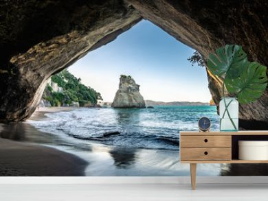Sunset at Cathedral Cove - view through the arch, Coromandel, New Zealand