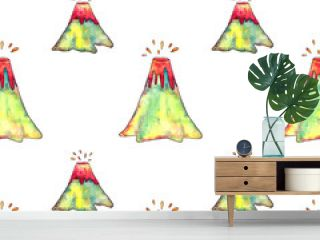 Hand drawn watercolor volcano's eruption seamless pattern on white background. Endless print of volcanoes. Wallpaper.
