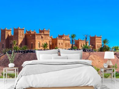 View of the fortified city of Ait-Ben-Haddou, Morocco. Copy space for text.