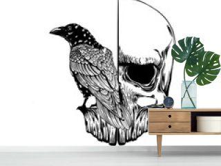 Crow on skull isolated on white. Hand drawn vector art. Sketch vector illustration. Vector vintage illustration. tattoo design.