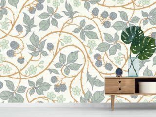 Floral botanical blackberry vines seamless repeating wallpaper pattern- exquisite elegance gold and blue-gray version