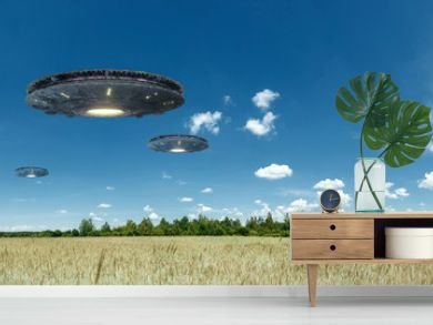 UFO, an alien plate hovering over the field, hovering motionless in the air. Unidentified flying object, alien invasion, extraterrestrial life, space travel, humanoid spaceship. mixed medium