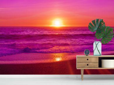 pink beach sunset