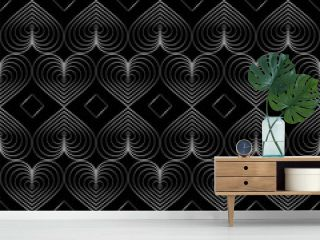 Seamless modern pattern. In vintage art deco style. Isolated gradient lines of heart elements on black background. Trend 2020. For backgrounds, fills, packaging, wallpaper design, print etc.