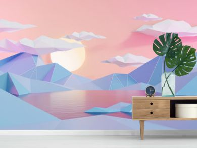 Mountain And Lake Landscape In Low Polygon Style Background, 3D Render.