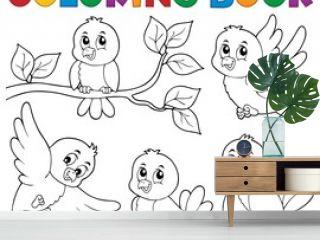 Coloring book happy birds theme 1