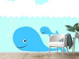 blue whale illustration vector nursery