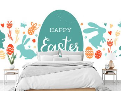 Cute hand drawn easter bunnies design, easter doodle background, great for textiles, banners, wallpapers, wrapping - vector design
