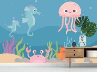 jellyfish seahorses crab life coral reef cartoon under the sea