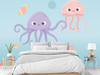octopus jellyfish starfish life coral reef cartoon under the sea