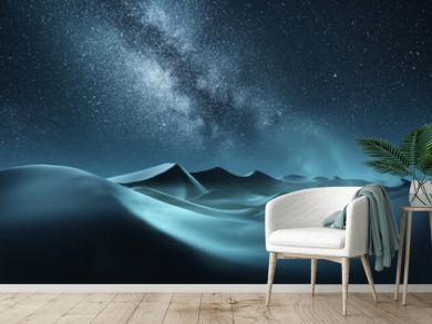 Rolling sand dunes at night with the milky way banding across the sky. Mixed media illustration.