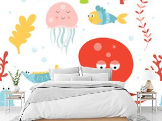 Sea life seamless pattern with cute octopus, jellyfish, seahorse and fishes. Vector Illustration. Great for wallpaper, baby clothes, greeting card, wrapping paper.