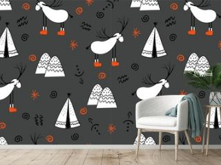 Reindeer. An animal with horns. Illustration in folk style. Stylized mountains. Scandinavian print. Seamless pattern for ki.