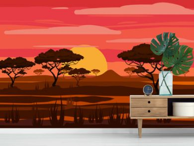 Sunset in Africa, savanna landscape with the silhouettes of trees, grass bushes horison orange Sun