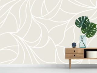 Vector organic pattern. Seamless texture of plants drawn lines. Stylish leaves light grey background. Modern wallpaper or textile print