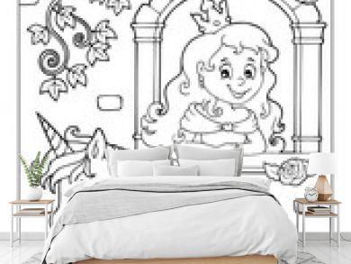 Coloring book princess and unicorn 1