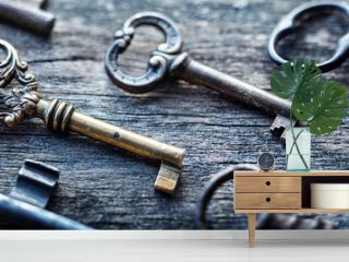 Old door keys lying on the table. Choose the right key. Concept on the topic of security, choice, search, etc. Retro style.