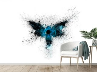 Beautiful silhouette of a butterfly in dark blue colors with a cosmic nebula inside and a mystical eye in the center of the butterfly with paint splashes, splatters and blots isolated on a white.