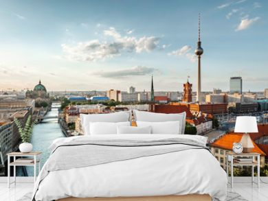 Berlin skyline panorama with TV tower and Spree river at sunset, Berlin, Germany