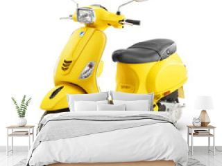 Yellow Retro Vintage Scooter Isolated on White Background. Modern Personal Transport. Classic Motor Scooter Side View. Electric Motorcycle with Step Through Frame. 3D Rendering