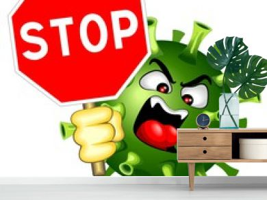 Coronavirus Evil Virus with Stop Sign Vector Character isolated on white