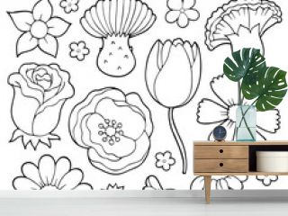 Coloring book various flower heads set 1