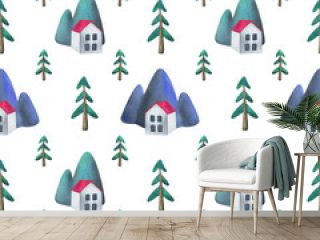 Simple pattern. A white house in the woods. Sweet home. Village in the province , mountains and firs. Children's watercolor illustration on a white background. Minimalistic, modern design. Print