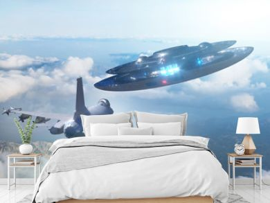 UFO flies away from a military plane, 3d render