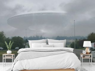 Cars On Street Against Flying Saucer In Cloudy Sky