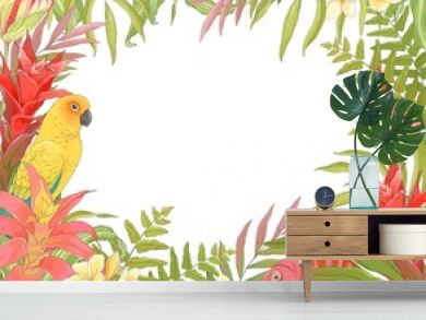 Tropical decoration frame for your text, vector illustration in vintage style with Parrot Sun Conure, Chameleon, plant Bromelia Guzmania and colorful leaves.